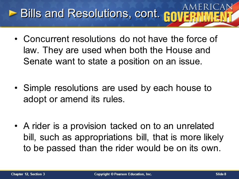 Bills and Resolutions, cont.