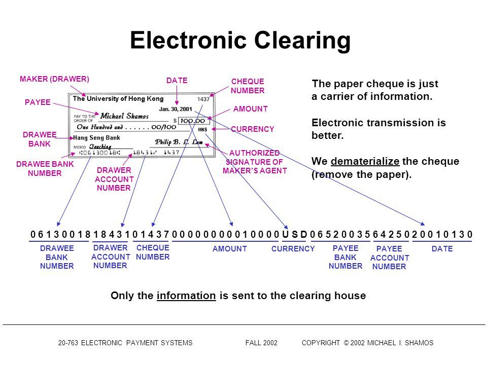 Electronic Clearing The paper cheque is just a carrier of information.