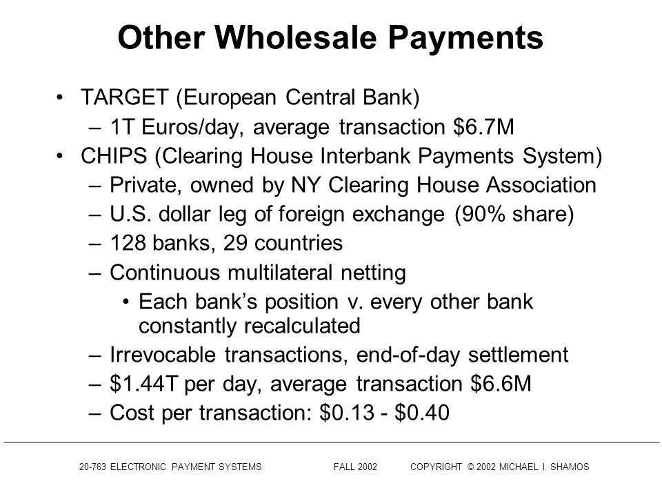 Other Wholesale Payments