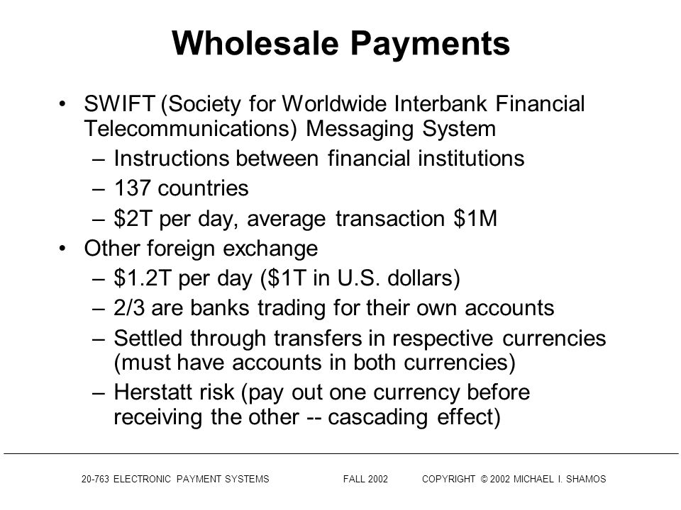 Wholesale Payments SWIFT (Society for Worldwide Interbank Financial Telecommunications) Messaging System.