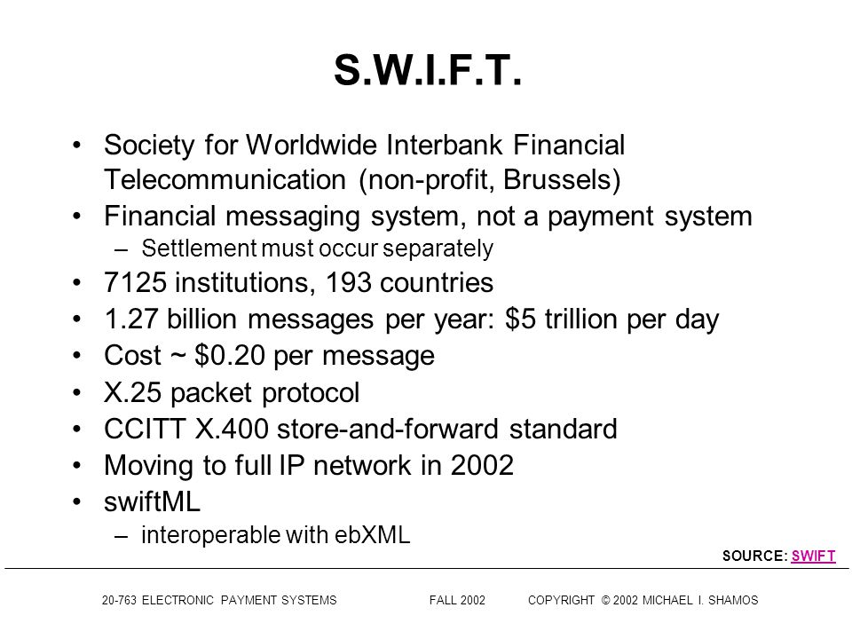 S.W.I.F.T. Society for Worldwide Interbank Financial Telecommunication (non-profit, Brussels) Financial messaging system, not a payment system.