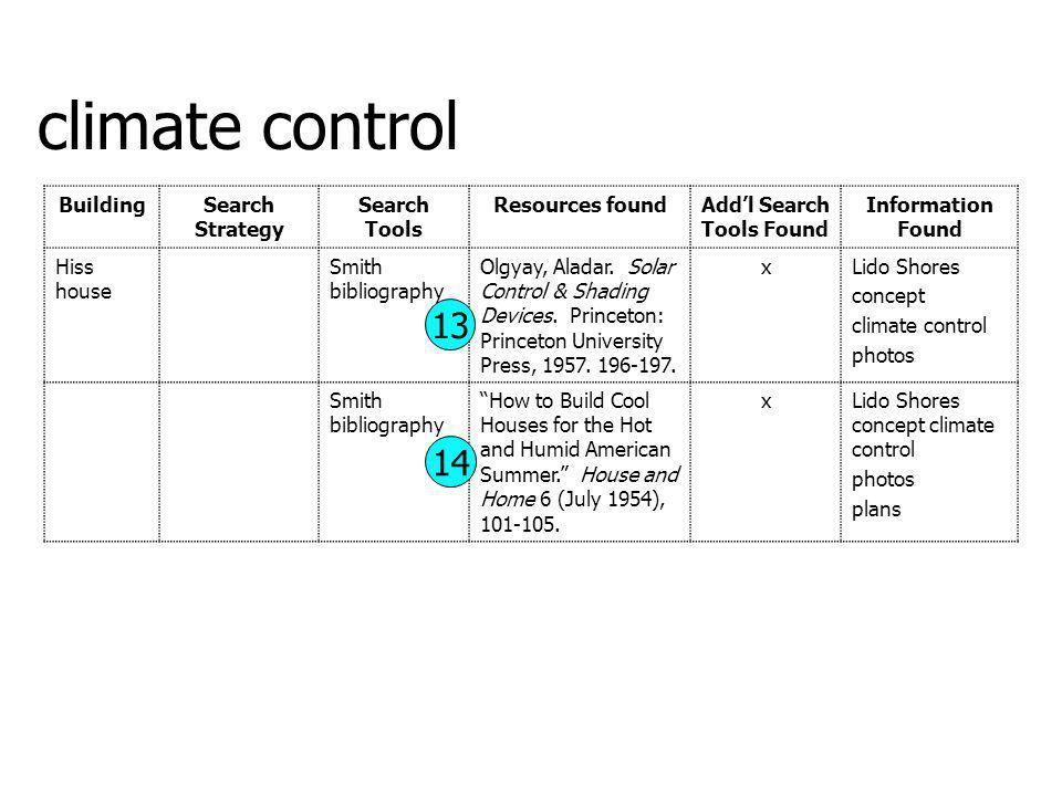 climate control 13 14 Building Search Strategy Search Tools