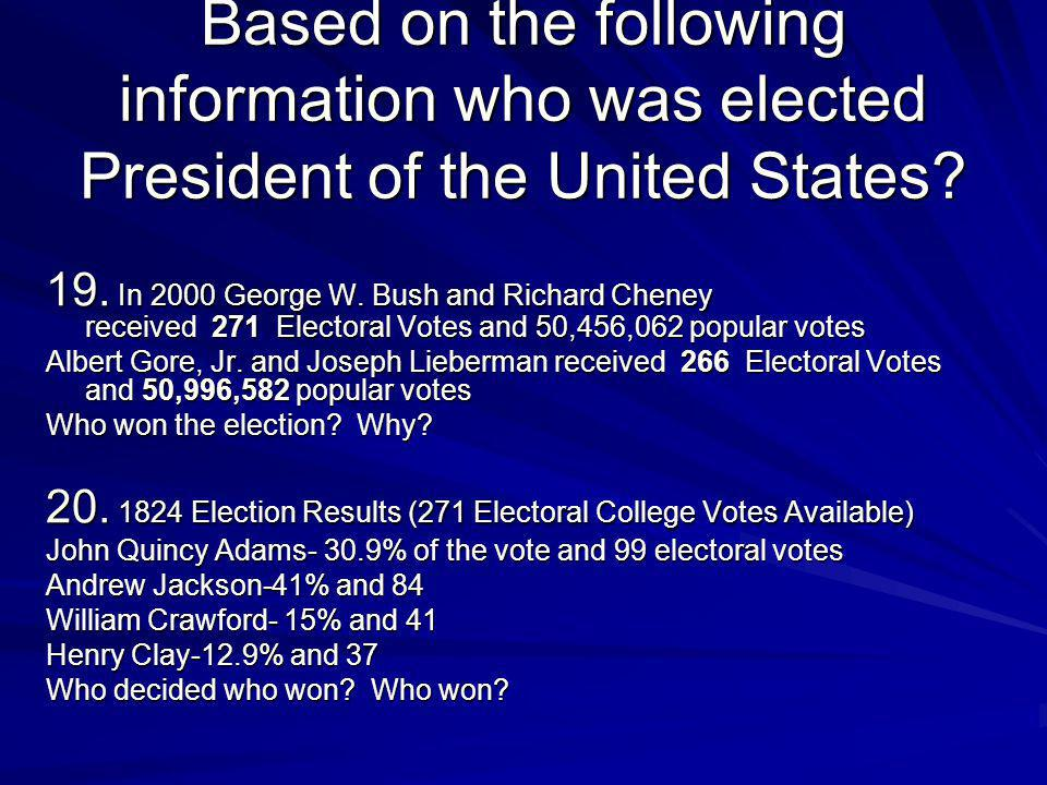 Based on the following information who was elected President of the United States