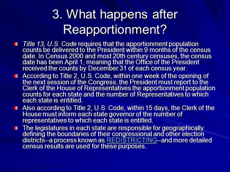 3. What happens after Reapportionment