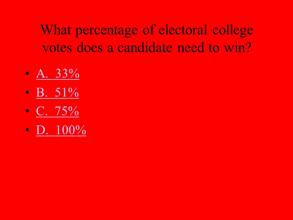 What percentage of electoral college votes does a candidate need to win