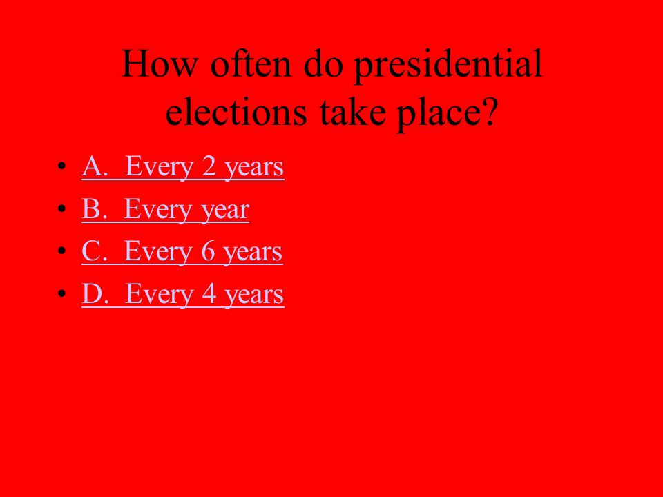 How often do presidential elections take place