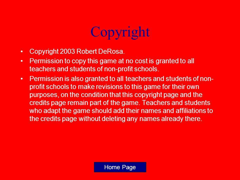 Copyright Copyright 2003 Robert DeRosa.