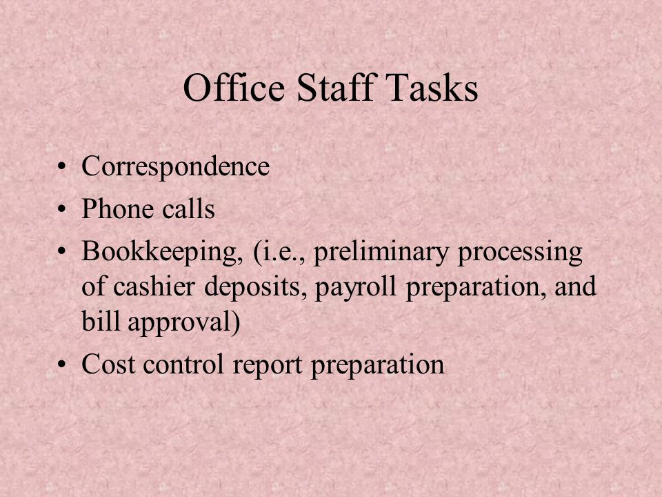 Office Staff Tasks Correspondence Phone calls