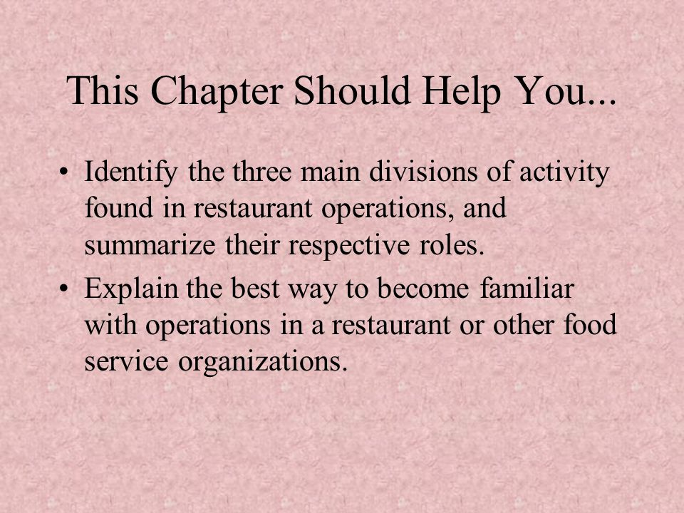 This Chapter Should Help You...