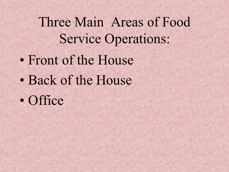 Three Main Areas of Food Service Operations: