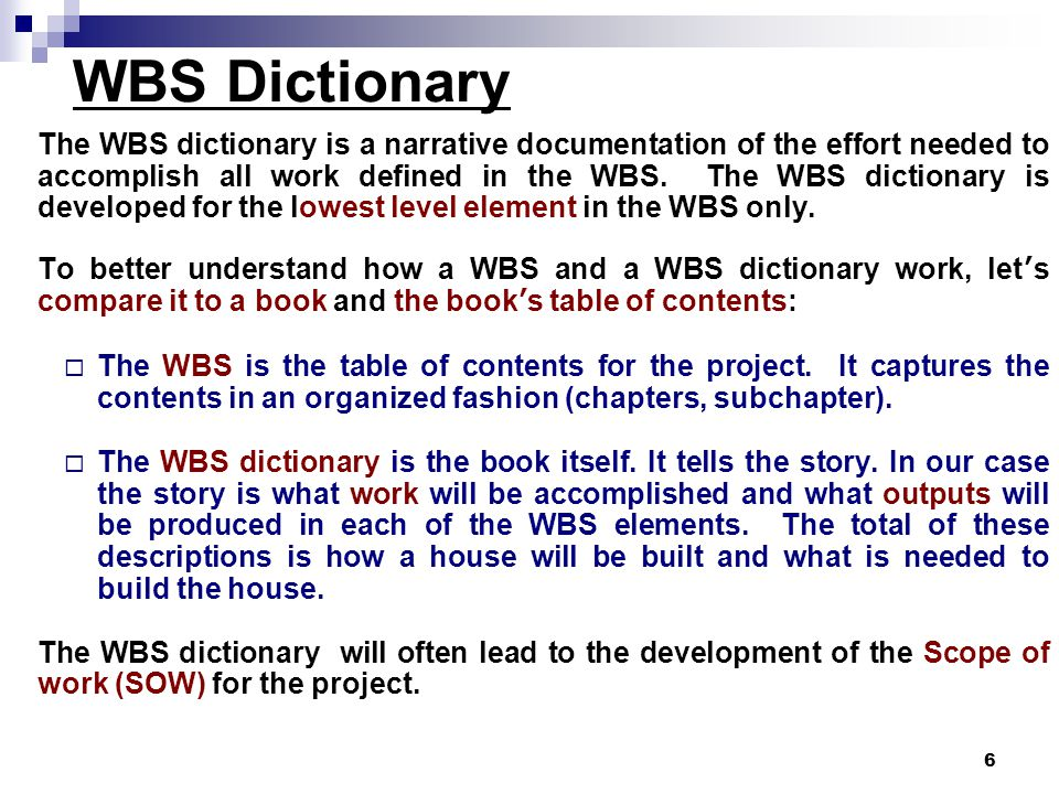WBS Dictionary
