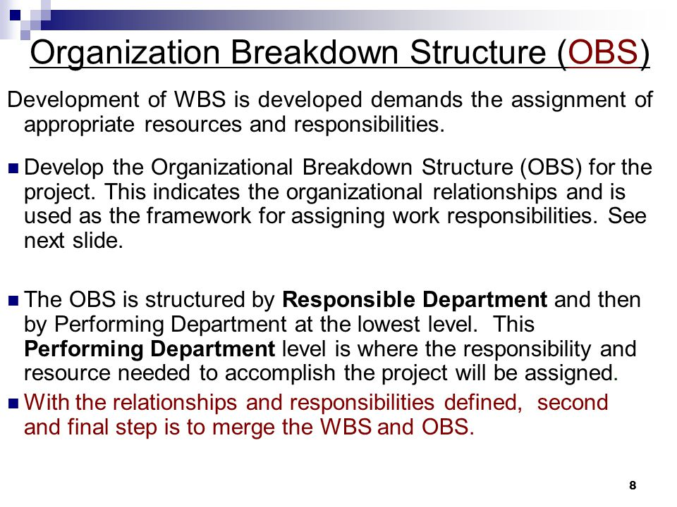 Organization Breakdown Structure (OBS)