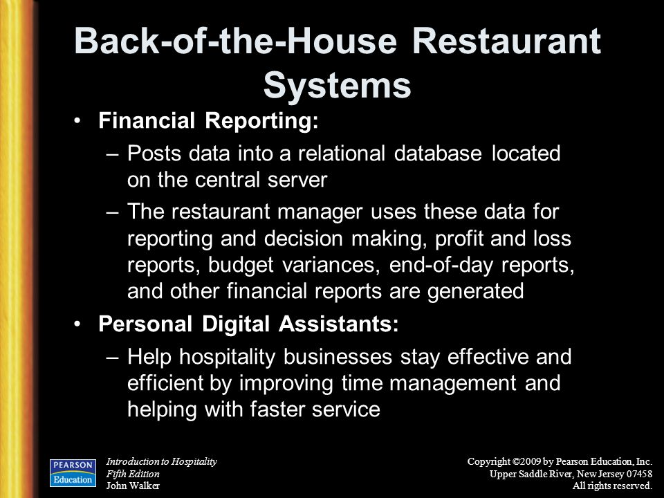 Back-of-the-House Restaurant Systems