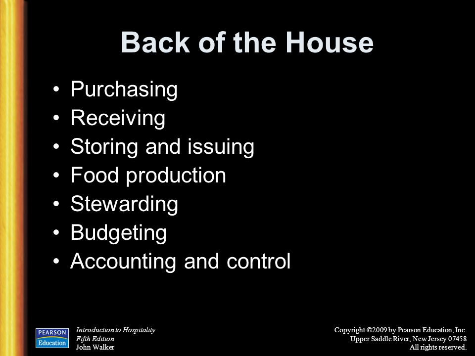 Back of the House Purchasing Receiving Storing and issuing