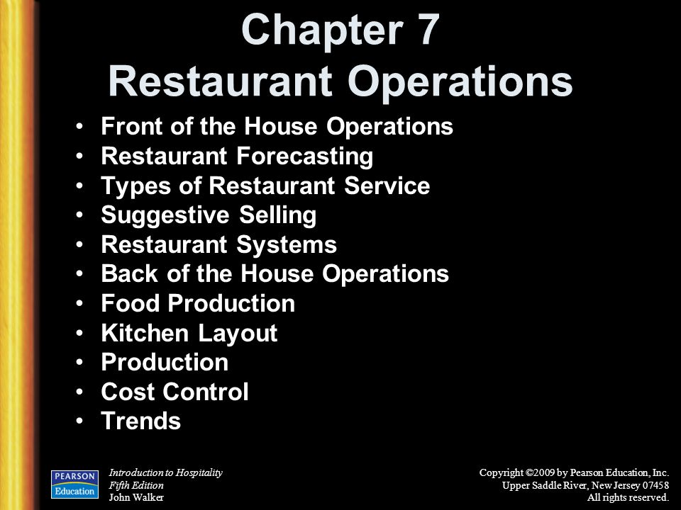 Chapter 7 Restaurant Operations