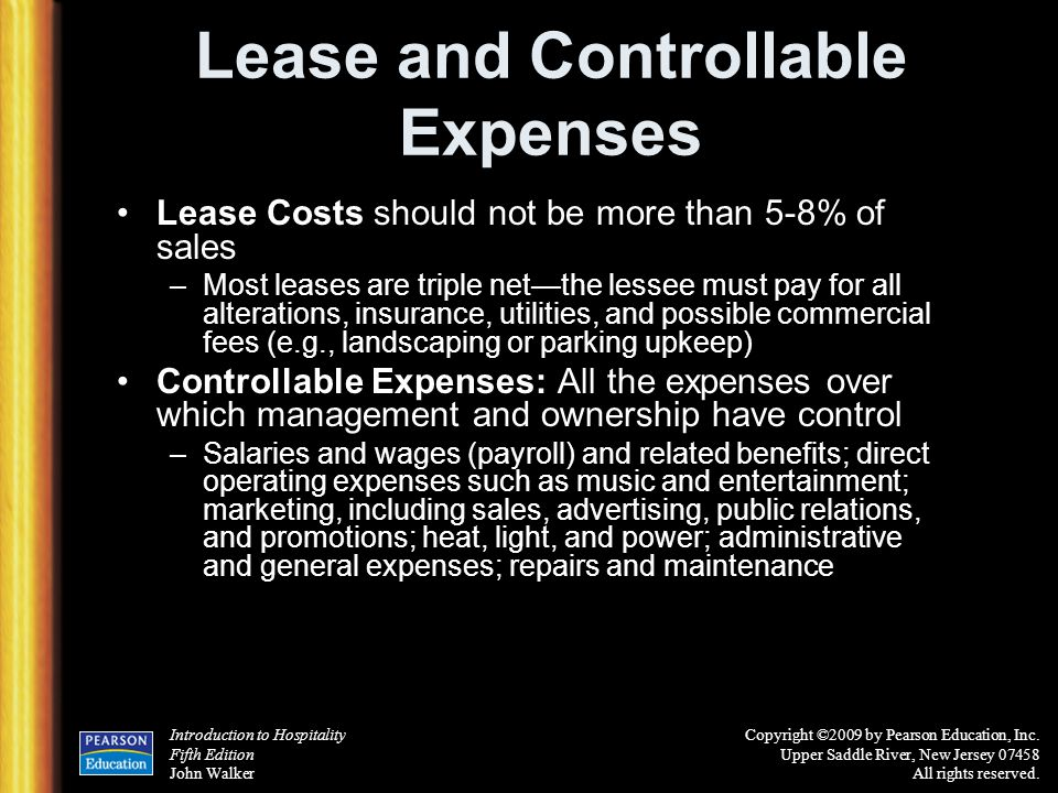 Lease and Controllable Expenses