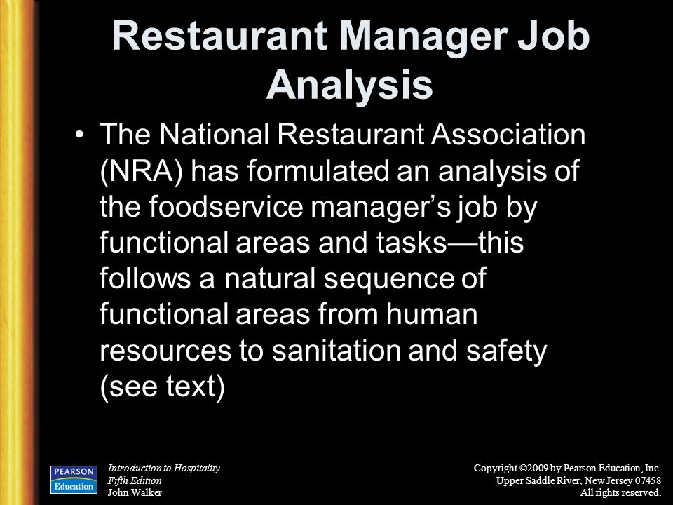 Restaurant Manager Job Analysis