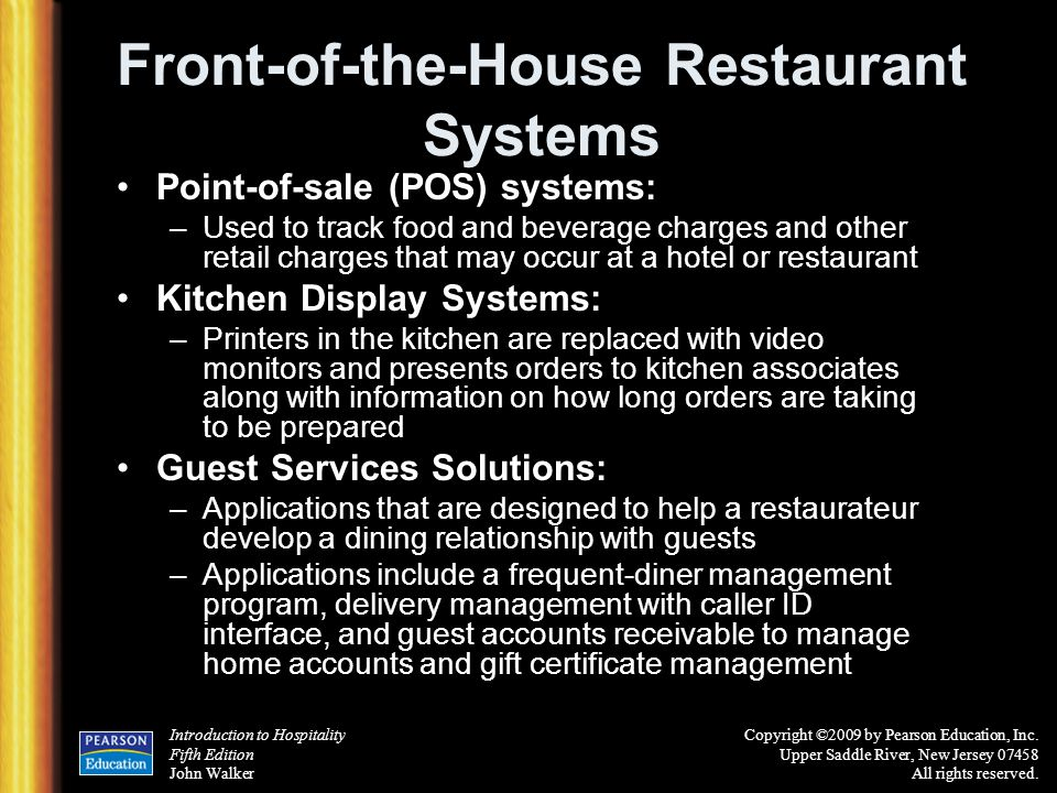 Front-of-the-House Restaurant Systems