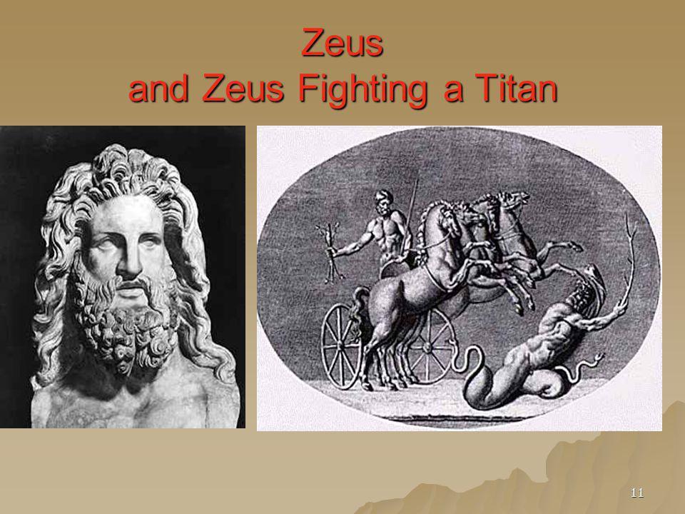 Zeus and Zeus Fighting a Titan