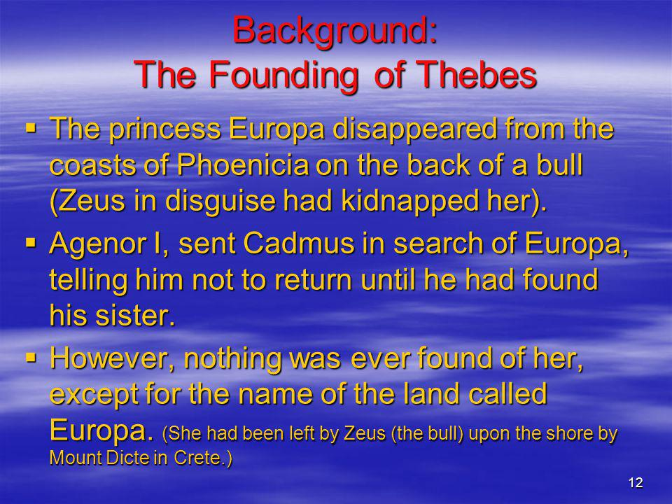 Background: The Founding of Thebes