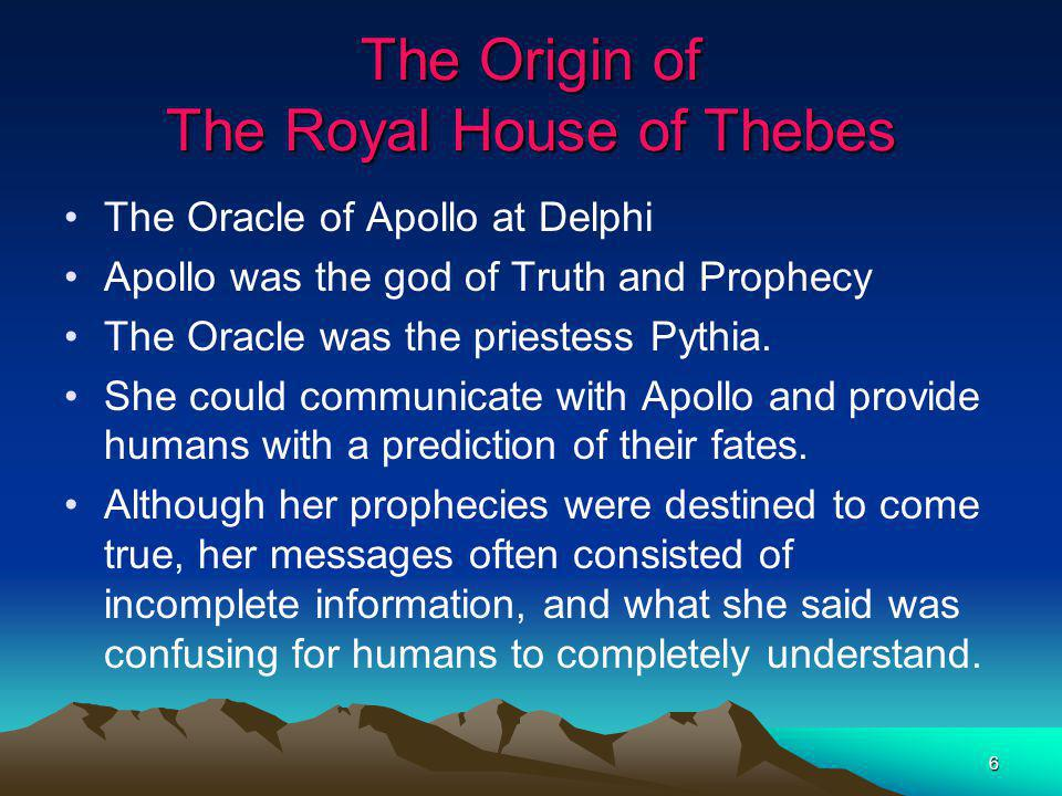 The Origin of The Royal House of Thebes