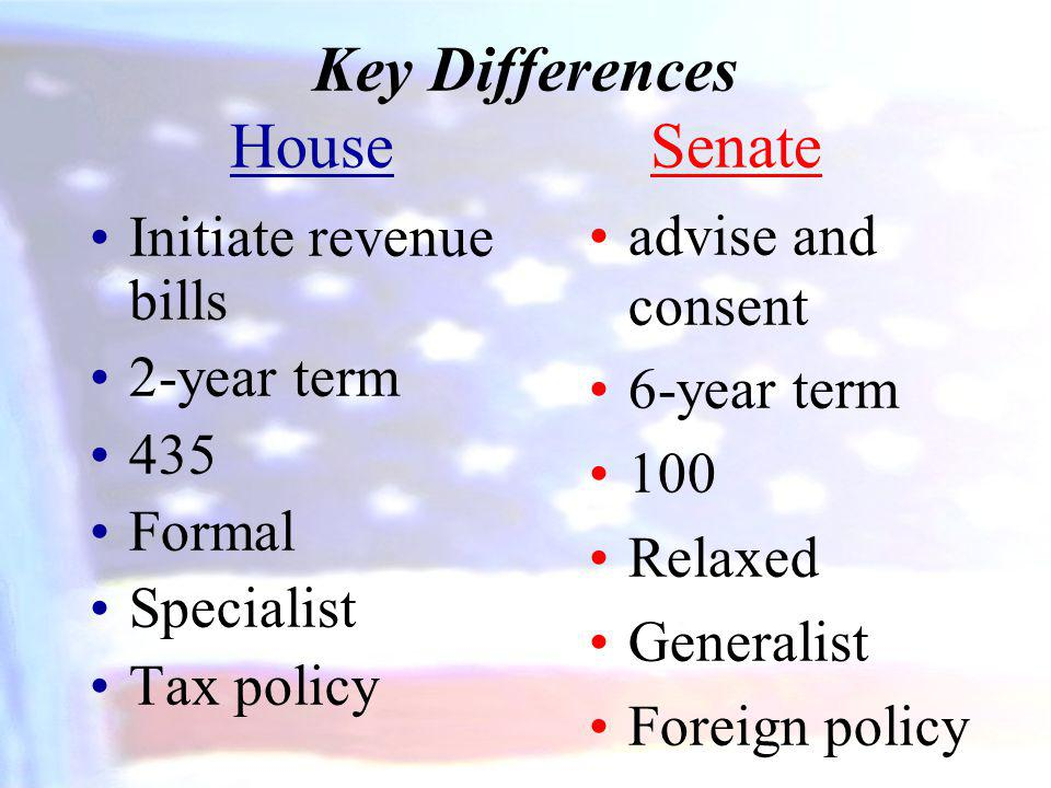 Key Differences House Senate