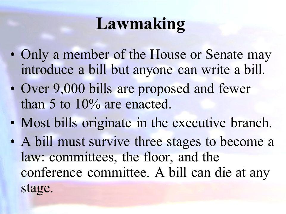 Lawmaking Only a member of the House or Senate may introduce a bill but anyone can write a bill.