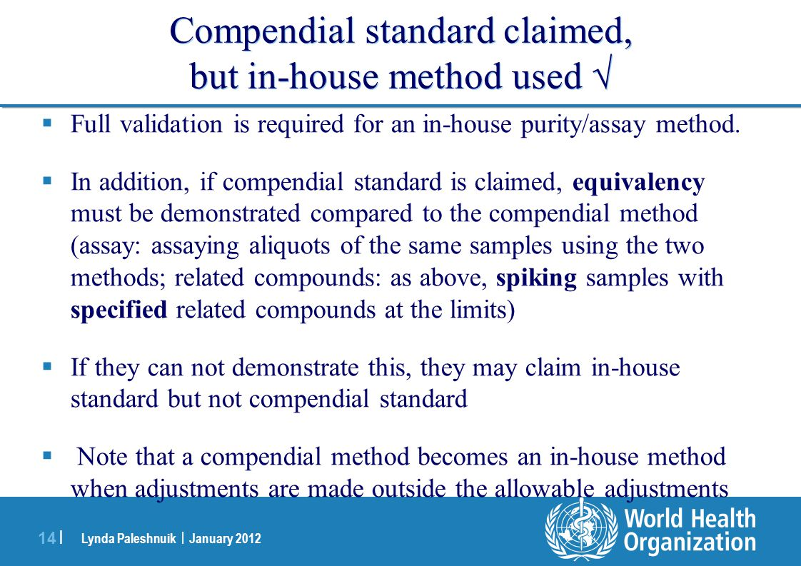 Compendial standard claimed, but in-house method used 