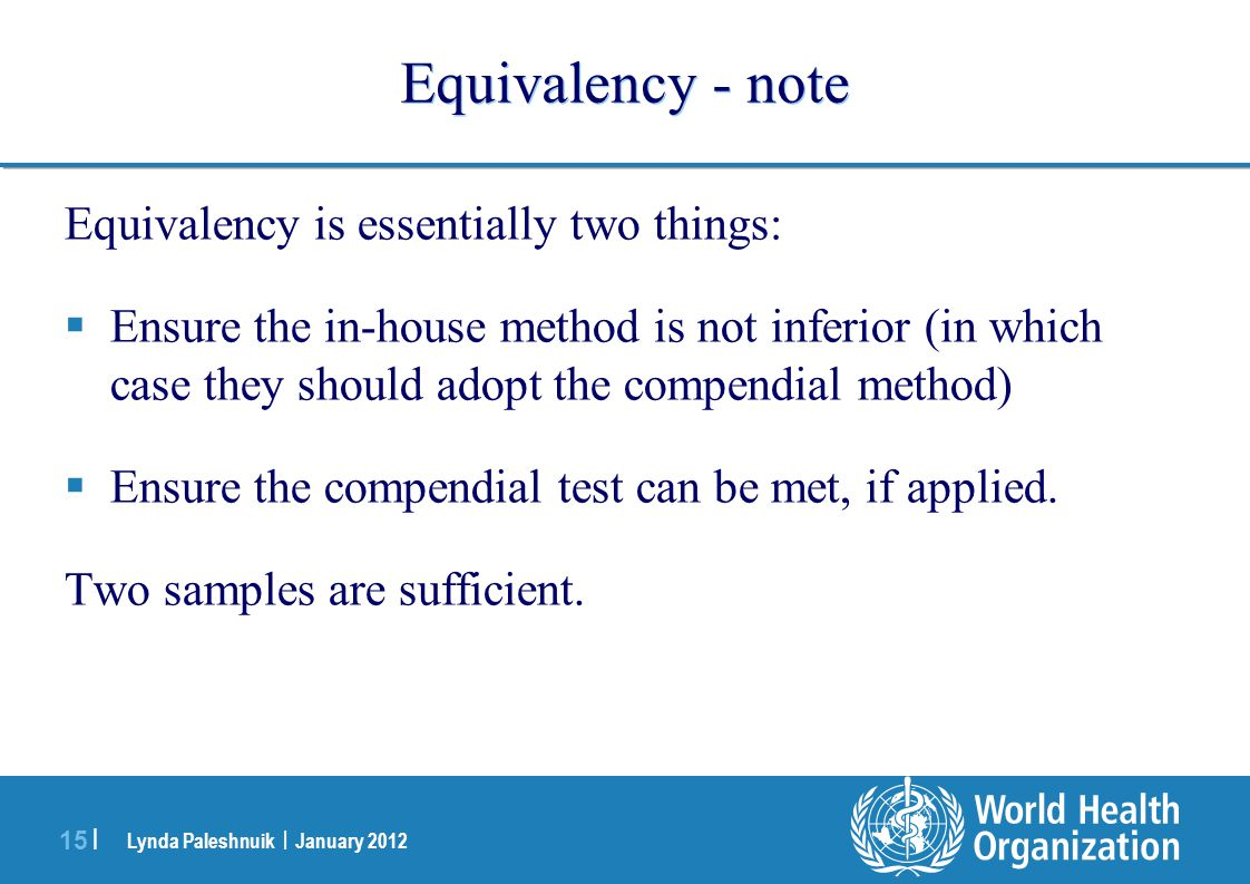Equivalency - note Equivalency is essentially two things: