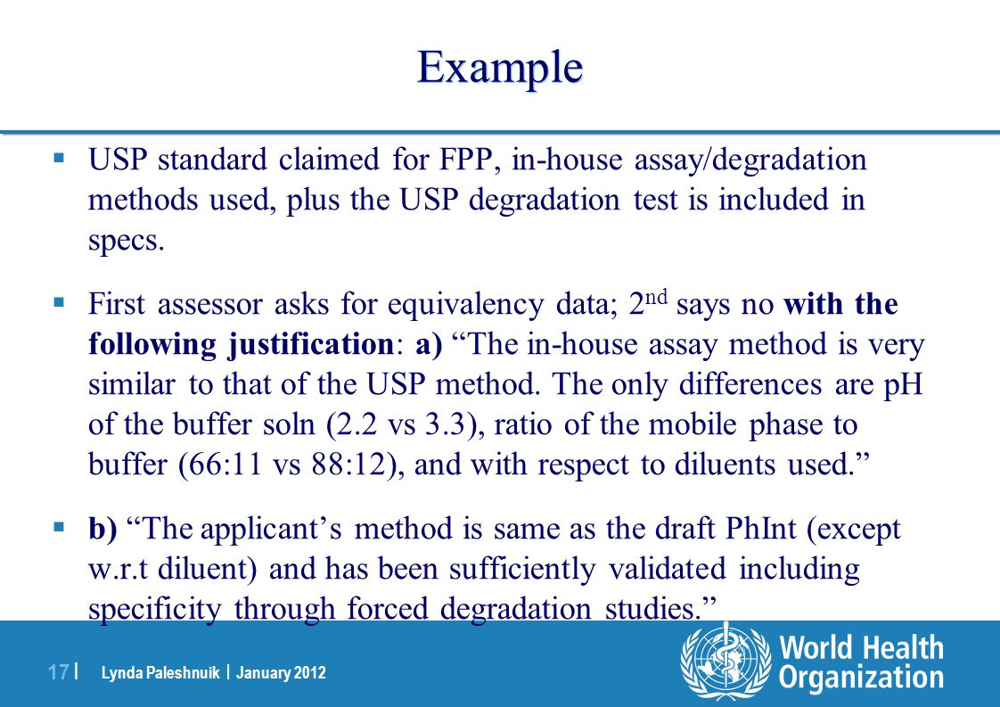 Example USP standard claimed for FPP, in-house assay/degradation methods used, plus the USP degradation test is included in specs.