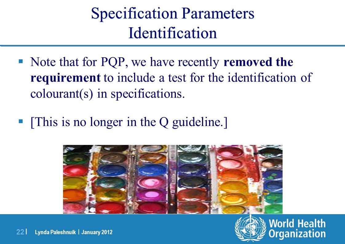 Specification Parameters Identification