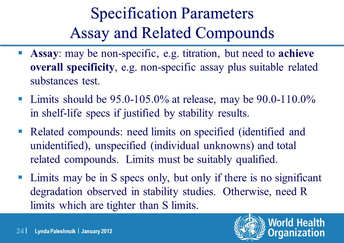 Specification Parameters Assay and Related Compounds