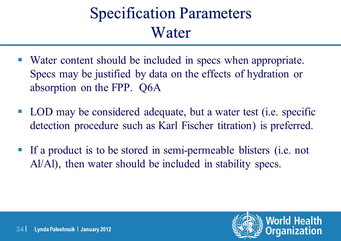 Specification Parameters Water