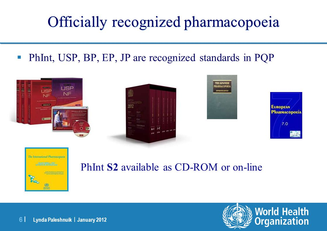 Officially recognized pharmacopoeia