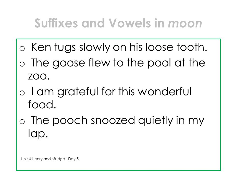 Suffixes and Vowels in moon