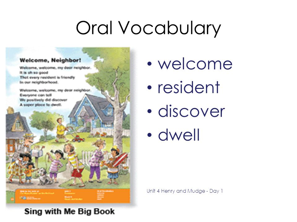 Oral Vocabulary welcome resident discover dwell
