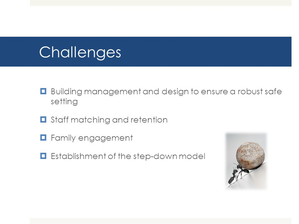Challenges Building management and design to ensure a robust safe setting. Staff matching and retention.