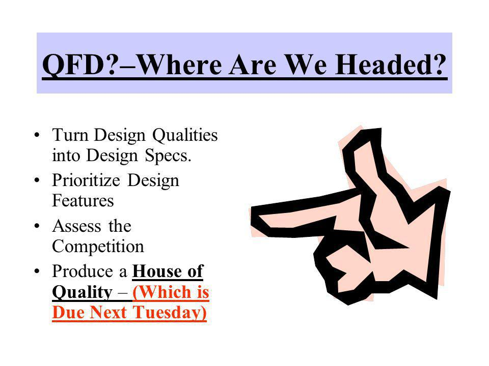 QFD –Where Are We Headed
