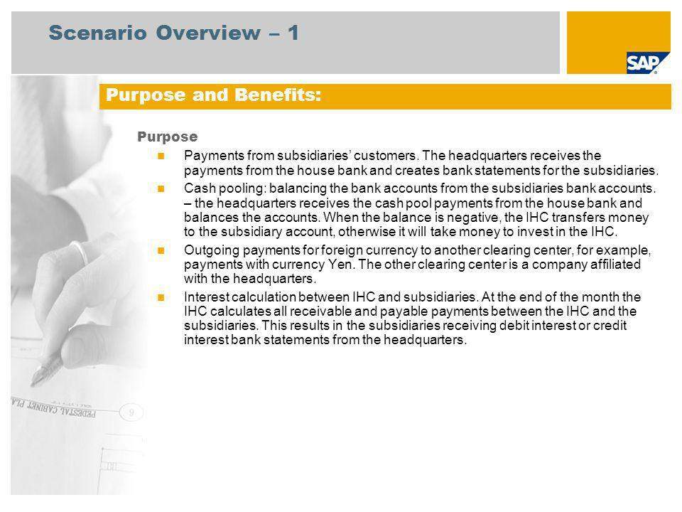 Scenario Overview – 1 Purpose and Benefits: Purpose
