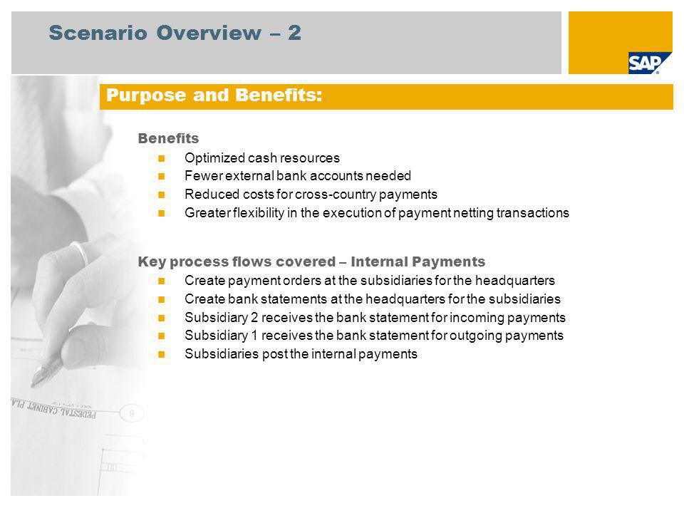 Scenario Overview – 2 Purpose and Benefits: Benefits