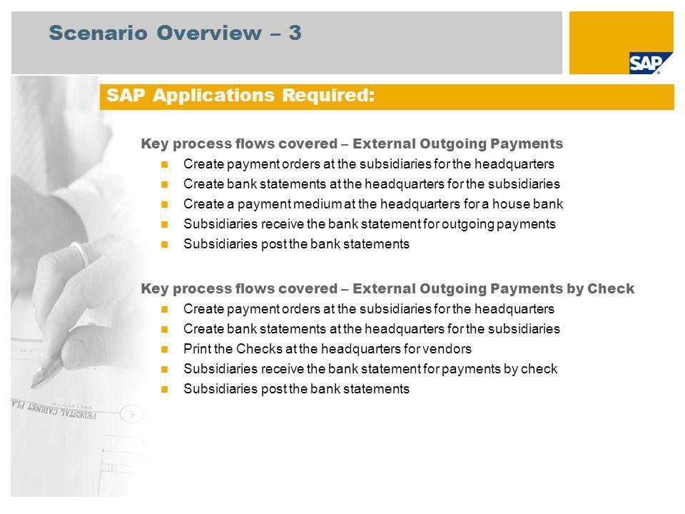 Scenario Overview – 3 SAP Applications Required: