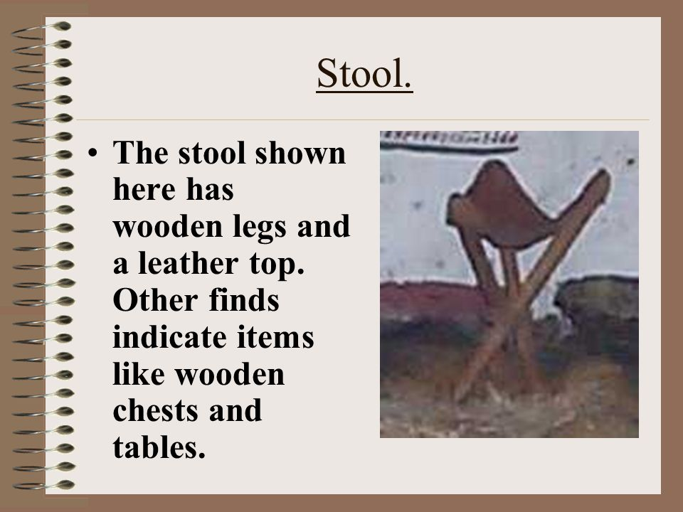 Stool. The stool shown here has wooden legs and a leather top.