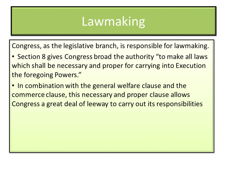 Lawmaking Congress, as the legislative branch, is responsible for lawmaking.