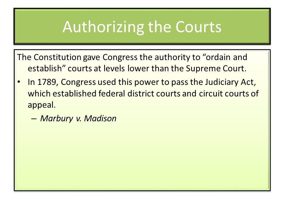Authorizing the Courts