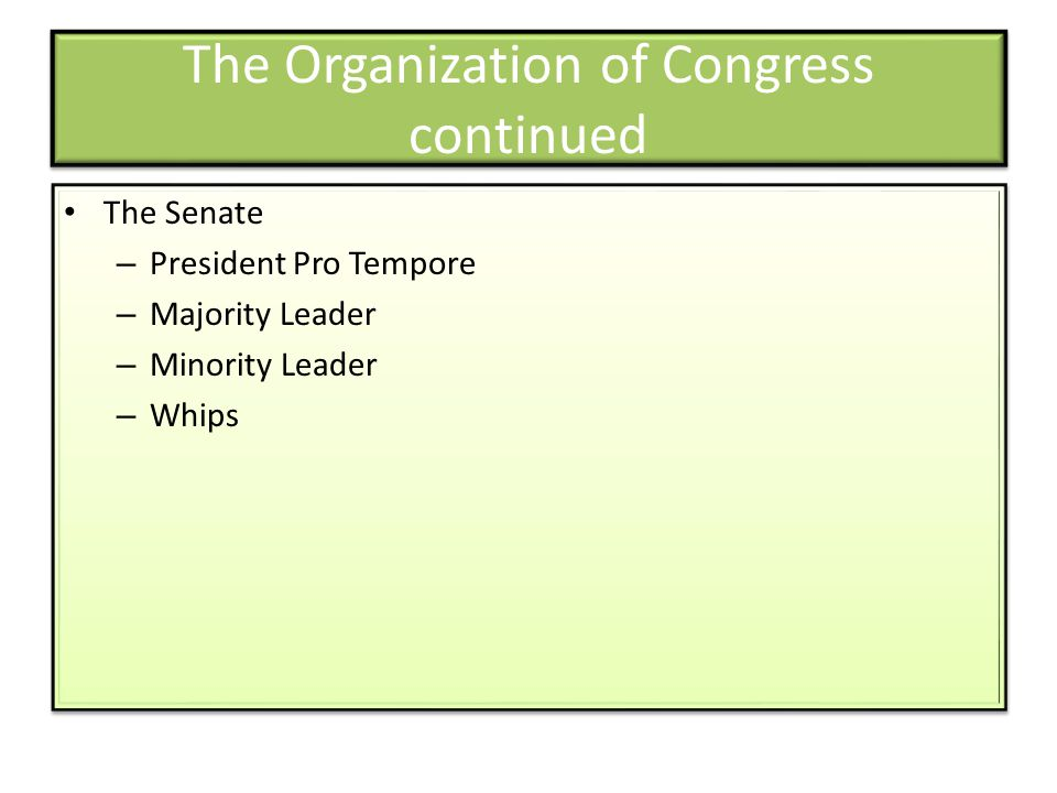 The Organization of Congress continued