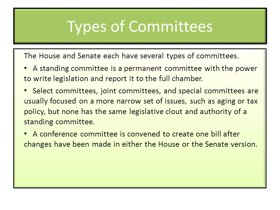 Types of Committees The House and Senate each have several types of committees.