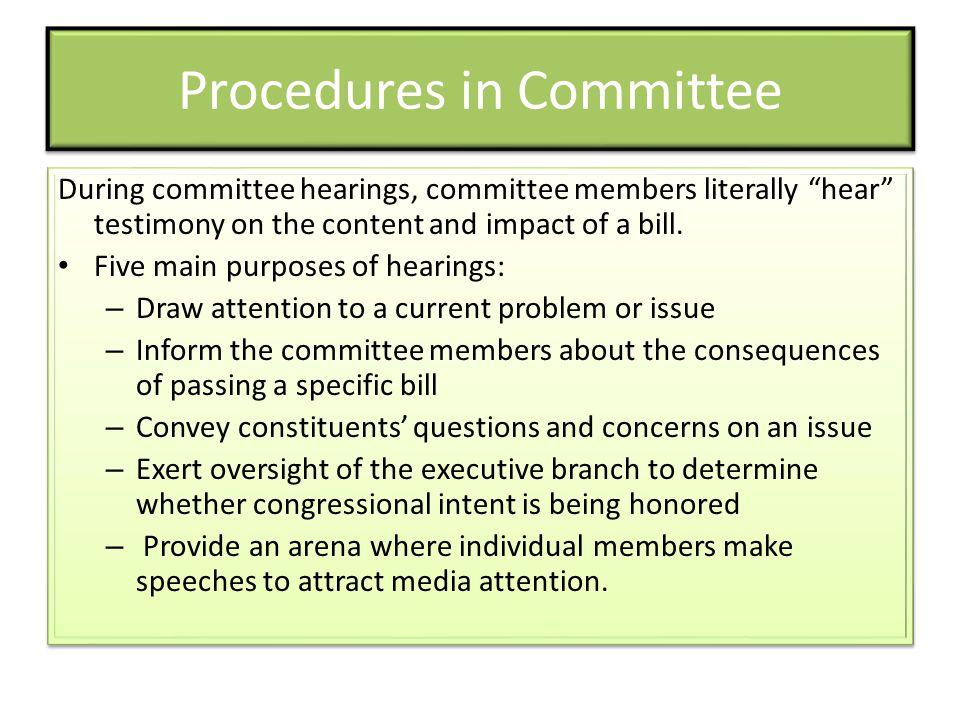 Procedures in Committee