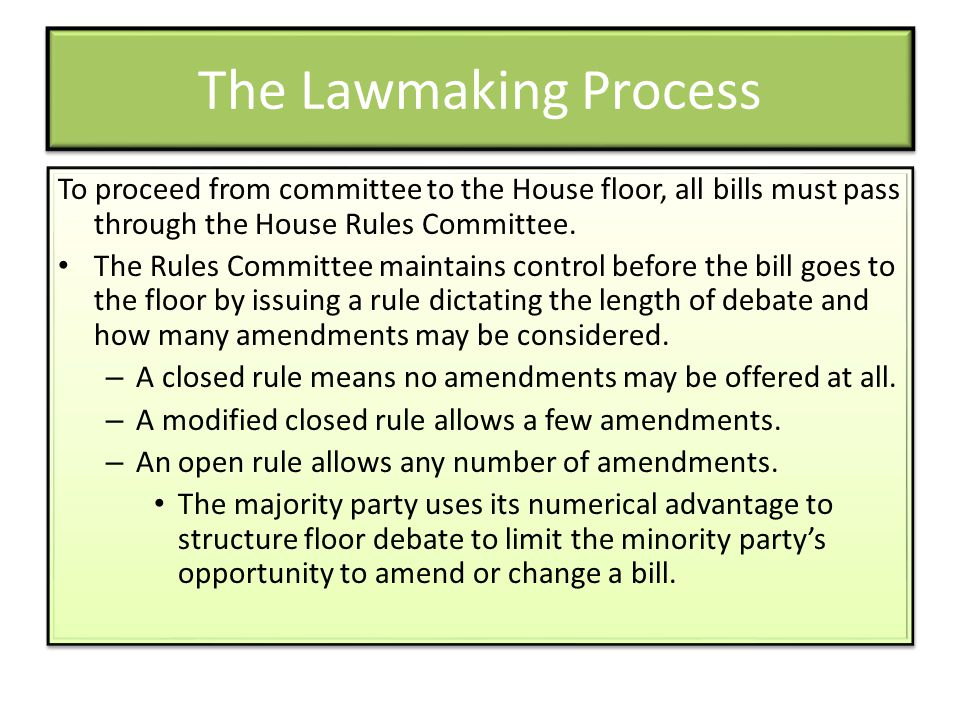 The Lawmaking Process To proceed from committee to the House floor, all bills must pass through the House Rules Committee.