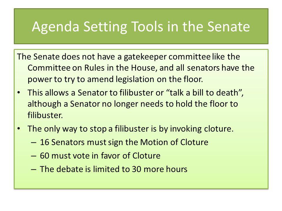 Agenda Setting Tools in the Senate