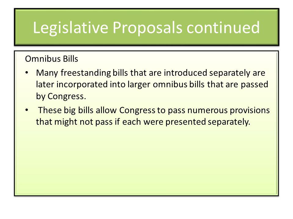 Legislative Proposals continued